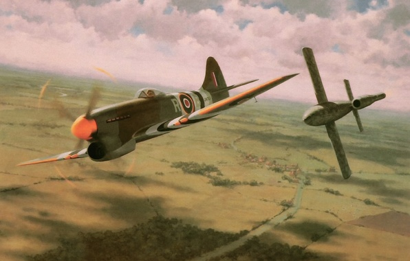 Картинка war, art, painting, drawing, ww2, british aircraft, hawker tempest, v1 bomb