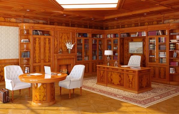 Картинка стиль, стол, мебель, книги, интерьер, кресло, кресла, кабинет, interior, класика, office, компютер, картина.