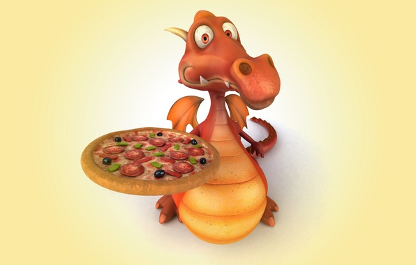 Картинка дракон, pizza, dragon, funny