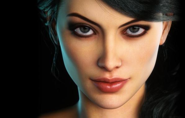 Картинка глаза, девушка, лицо, ресницы, макияж, брюнетка, губы, черный фон, крупным планом, Fantasy Woman