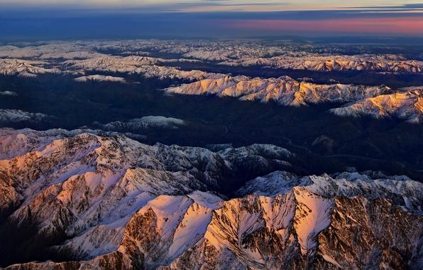 Картинка небо, облака, снег, закат, горы, вершины