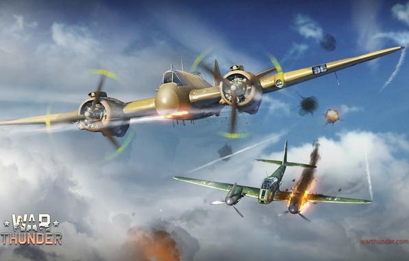 Картинка небо, облака, пламя, истребитель, Messerschmitt, британский, немецкий, двухмоторный, поршневой, Hornisse, тяжёлый, War Thunder, Bristol, торпедоносец, …