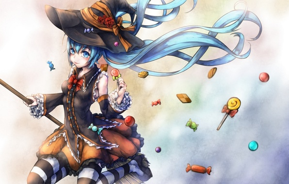Картинка язык, девушка, праздник, чулки, шляпа, аниме, арт, конфеты, ведьма, метла, vocaloid, hatsune miku, halloween, kajaneko