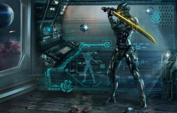 Картинка космос, металл, корабль, шар, меч, арт, броня, сфера, проекция, тренировка