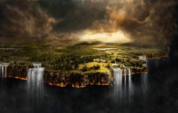 Обои картинки фото край земли, водопады, космос