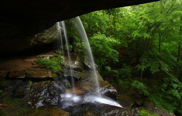 Картинка водопад, пещера, прохлада, waterfall