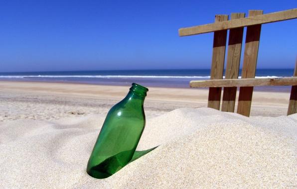 Картинка песок, море, берег, бутылка