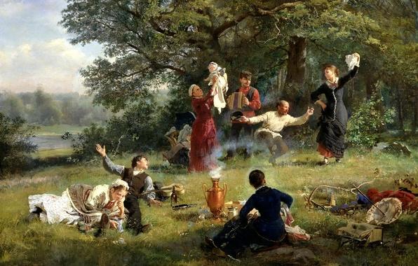 Картинка природа, люди, ситуация, картина, пикник, живопись, холст, воскресный день, Корзухин, гармонист