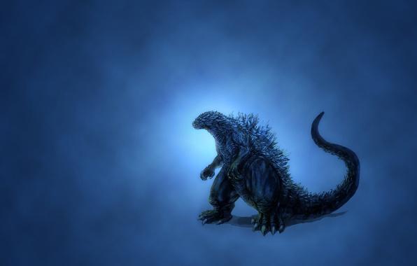 Картинка динозавр, свечение, минимализм, синий фон, Godzilla, темноватый, годзилла