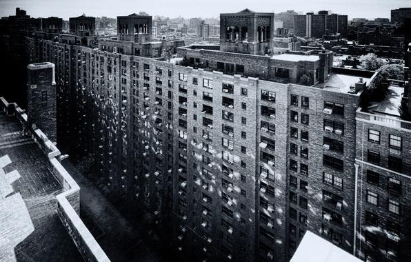 Картинка город, дом, здания, чёрно-белое, строения, улицы