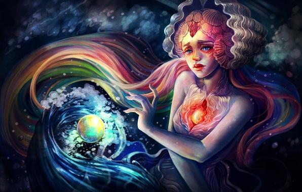 Картинка девушка, пузырьки, лицо, сердце, русалка, арт, ракушки, сфера, под водой, Yangtian Li