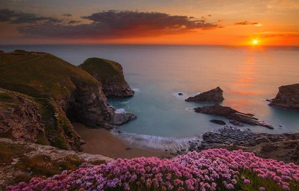 Картинка море, пляж, пейзаж, скалы, Beach, England, Ocean, Sea, Rocks, Seascape, Bedruthan steps