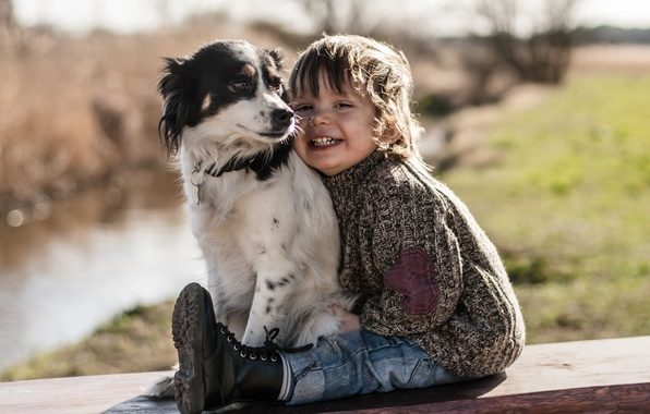 Картинка радость, настроение, собака, мальчик, друзья
