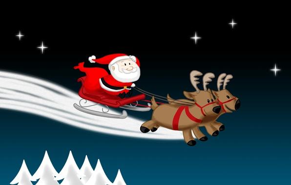 Картинка зима, небо, праздник, графика, новый год, рождество, звёзды, ели, christmas, new year, санта клаус, сани, ...