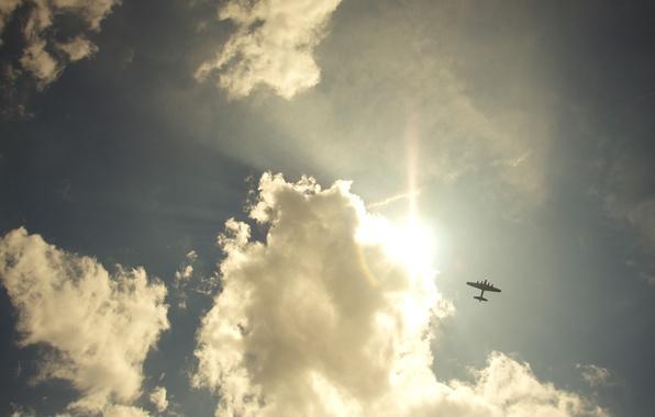 Картинка небо, свобода, облака, пейзажи, самолёт, sky, freedom, clouds, рейс, airplanes