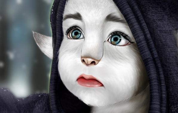 Картинка грусть, глаза, взгляд, снег, существо, арт, капюшон, ушки