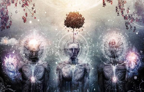 Картинка дерево, трое, art, эзотерика, cameron gray, третий глаз