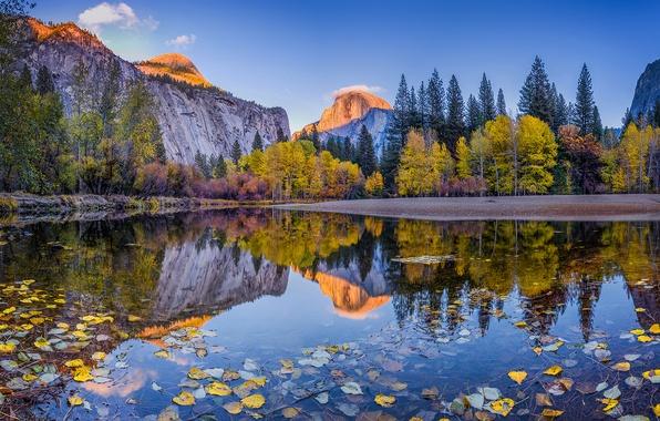 Картинка осень, лес, небо, облака, деревья, горы, отражение, река, голубое, листва, день, Калифорния, США, Йосемити, национальный …