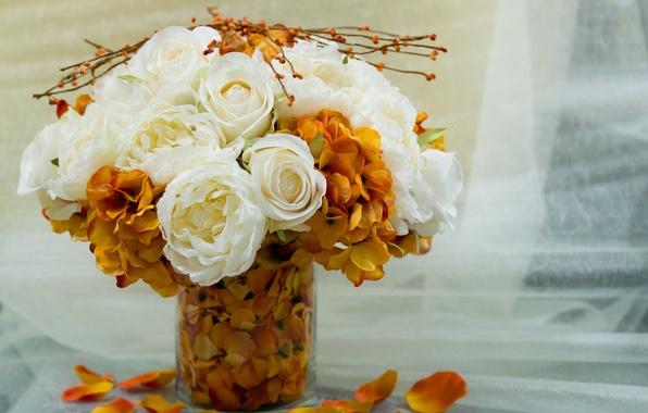 Картинка белый, цветы, оранжевый, фон, widescreen, обои, букет, лепестки, ваза, wallpaper, цветочки, широкоформатные, background, букетик, полноэкранные, …