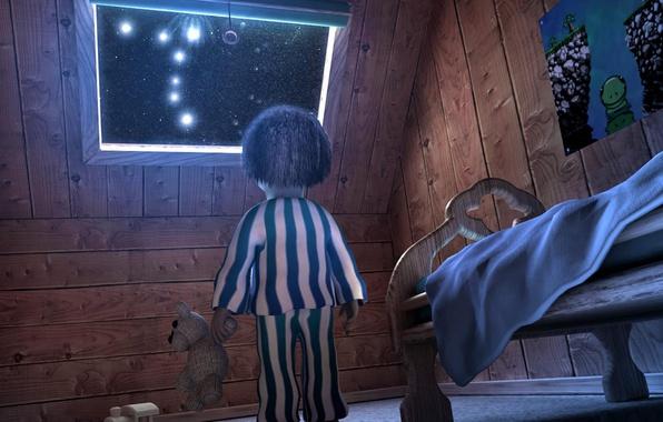 Картинка ночь, звёзды, мальчик