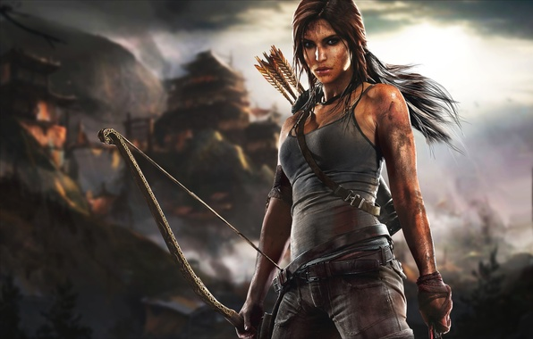 Картинка грудь, девушка, лук, грязь, Tomb Raider, Лара Крофт, Square Enix, выживание, Lara Croft, Расхитительница гробниц, …