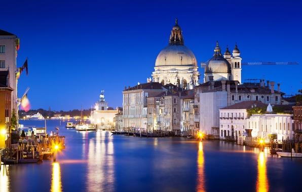 Картинка море, вода, свет, отражение, здания, дома, вечер, Италия, Венеция, архитектура, Italy, Venice, Гранд-канал, Canal Grande