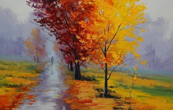 Картинка осень, пейзаж, парк, картина, аллея