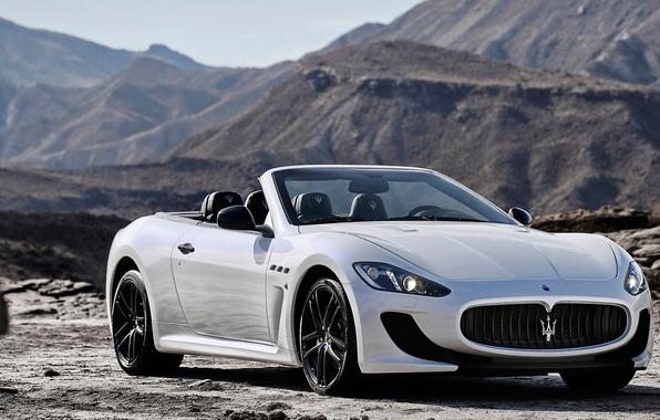 Картинка Maserati, Горы, Белый, Кабрио, Мазерати, Car, Автомобиль, White, GranCabrio, 2014, Гран