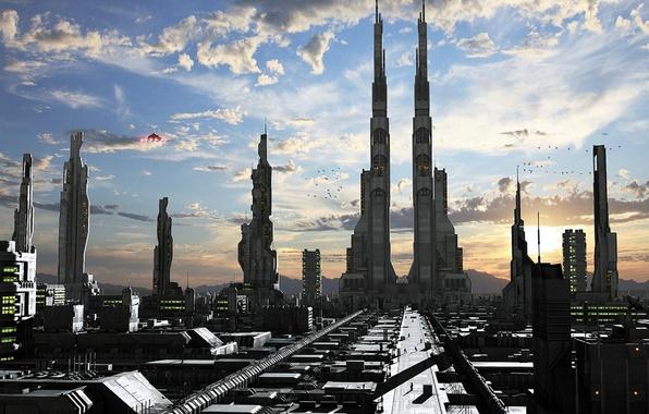 Фото обои city, lights, sky, clouds, birds, spaceship, shadows, twin towers