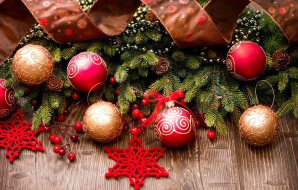 Картинка зима, шарики, ветки, игрушки, елка, ель, Новый Год, Рождество, лента, красные, ёлка, декорации, Christmas, шишки, …