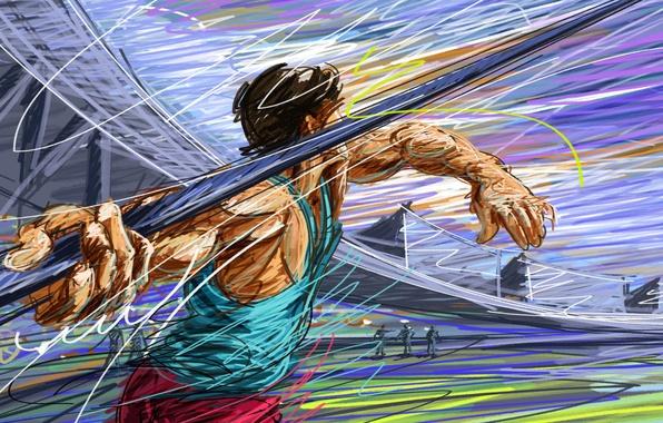 Картинка рисунок, вектор, спортсмен, копье, стадион, легкая атлетика, атлет, штрих, метание