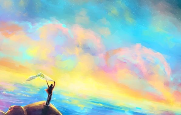 Картинка море, небо, скала, человек, живопись, Gabrielle Ragusi. пейзаж