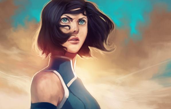 Картинка взгляд, лицо, волосы, голубые глаза, Korra, The Legend of Korra, Аватар: Легенда о Корре