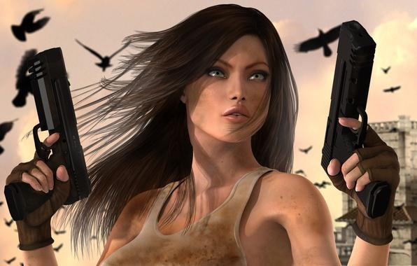 Картинка взгляд, птицы, город, пистолеты, Девушка