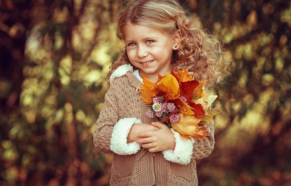 Картинка листья, лицо, ребенок, girl, смайлик, боке, child