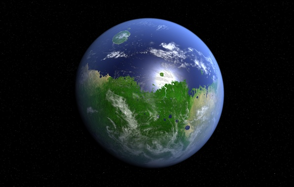 Картинка космос, звезды, поверхность, океан, планета, Марс, материк