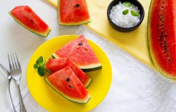 Картинка арбуз, листики мяты, mint leaves, watermelon slices of watermelon, дольки арбуза