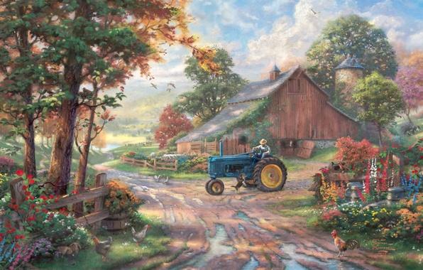 Картинка животные, лето, деревья, цветы, пруд, сарай, трактор, summer, живопись, trees, animals, dog, ферма, man, Томас …