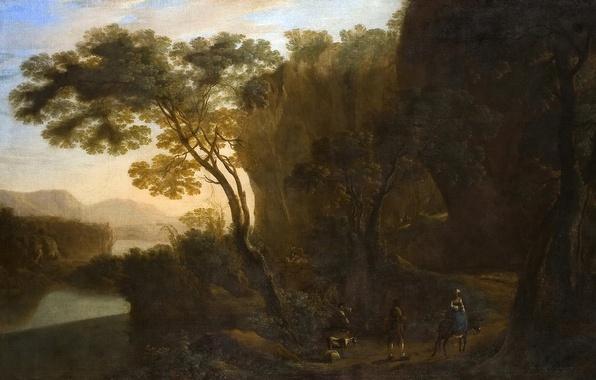 Картинка море, деревья, пейзаж, горы, люди, картина, Ян Бот, Дорога из Порта