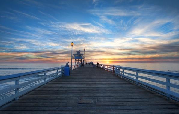 Картинка море, небо, вода, солнце, облака, закат, мост, природа, фон, люди, widescreen, обои, wallpaper, широкоформатные, background, …