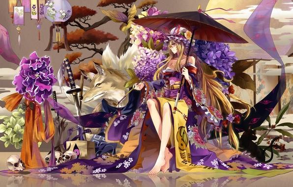 Картинка девушка, цветы, дерево, череп, волк, трубка, меч, катана, зонт, фонари, кимоно, гортензия, Touhou, yakumo yukari, …