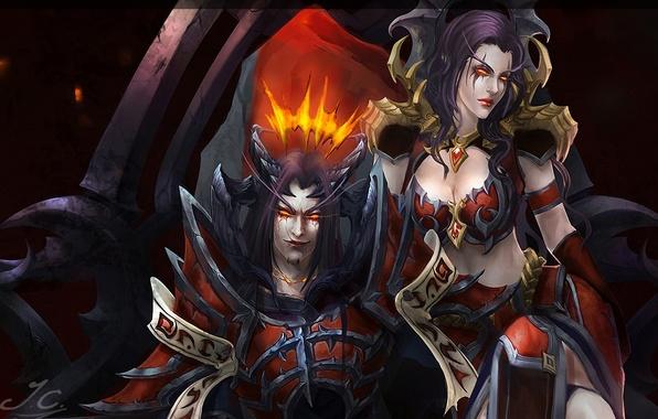 Картинка девушка, демон, арт, рога, World of Warcraft, парень