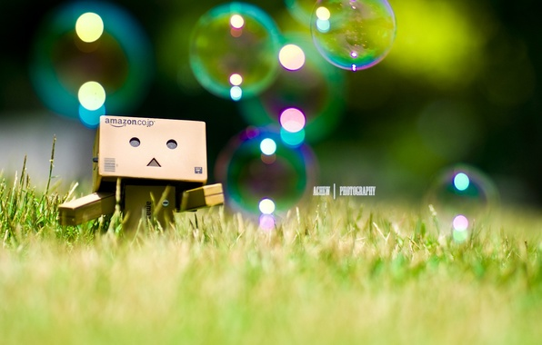 Картинка трава, пузыри, bubbles, grass, robot, danbo, Danboard, box, toy