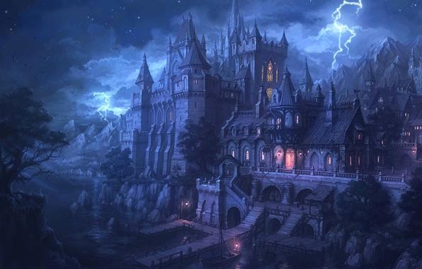 Картинка вода, ночь, огни, замок, молния, пристань, крепость