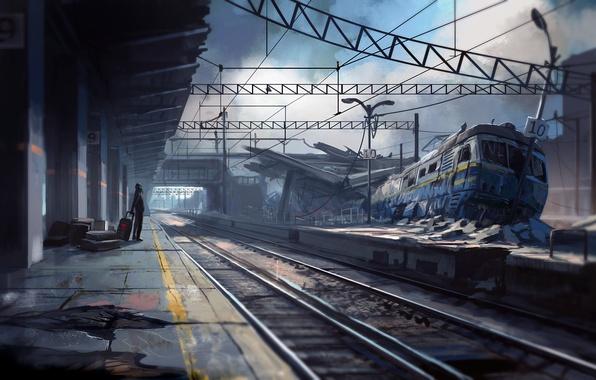 Картинка авария, вокзал, ожидание, Romantically Apocalyptic, train