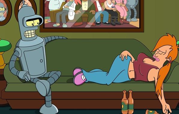 Картинка futurama, Bender, Fry, planet express