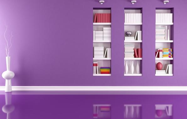Картинка отражение, комната, modern, вазы, светильники, папки