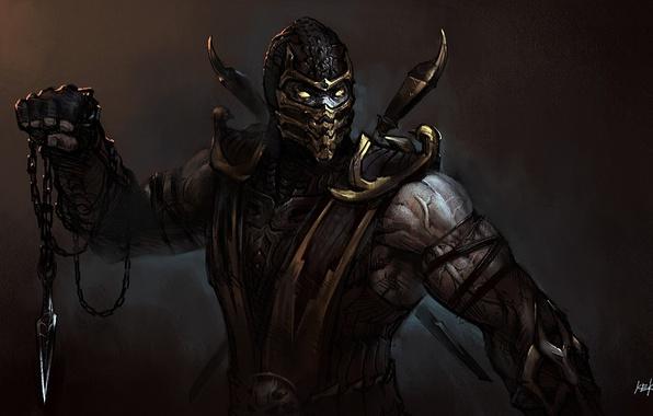 Картинка маска, арт, цепь, нож, Mortal Kombat, Scorpion, друщие