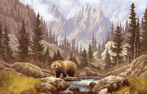 Картинка небо, пейзаж, горы, ручей, картина, медведь, речка