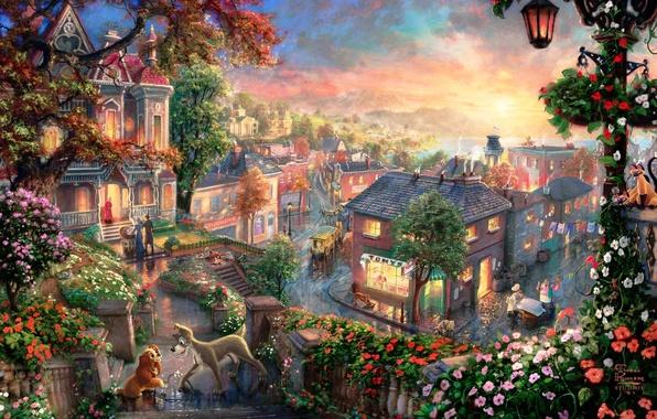 Картинка любовь, закат, цветы, город, коты, сердце, мультфильм, дома, фонарь, живопись, Леди, дворняга, квартал, Томас Кинкейд, …
